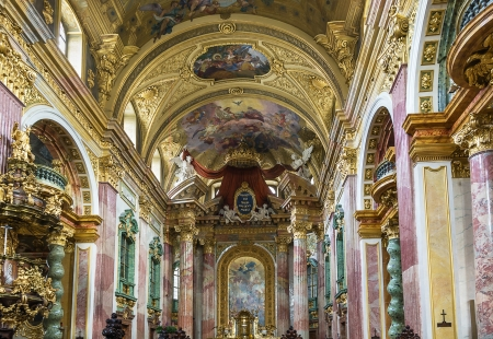 influenced: The Jesuit Church, also known as the University Church is double-tower church in Vienna, Austria. Influenced by early Baroque principles, the church was remodeled between 1703 and 1705.
