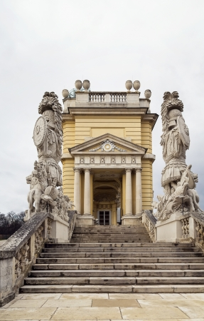 the gloriette: Gloriette in  Schonbrunn Palace Garden in Vienna, Austria is built in 1775 as a temple of renown Editorial