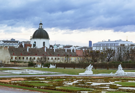 salesian: view of the Salesian Church from Belvedere palace garden, Vienna, Austria Stock Photo