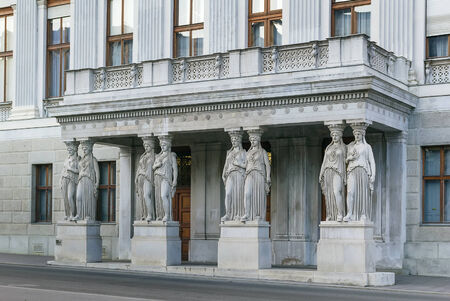 caryatids: balcony with caryatids in The Austrian Parliament Building in Vienna Editorial