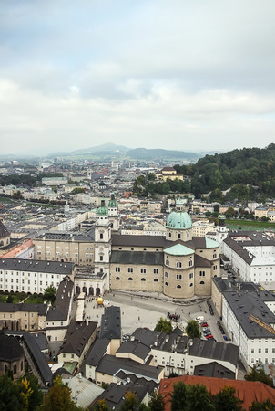 views of the historic centre of Salzburg with the Hohensalzburg Castle, Austria