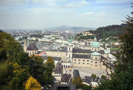 views of the historic centre of Salzburg with the Hohensalzburg Castle, Austria photo