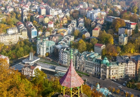 Panorama of Karlovy Vary from a hill photo