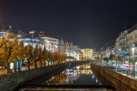 embankment of Tepla river in Karlovy Vary in evening Stok Fotoğraf