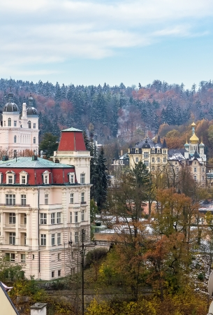 vary: Panorama of Karlovy Vary from a hill