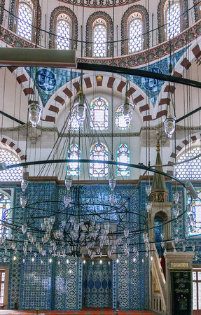 quantities: The mihrab. The Rustem Pasha Mosque is famous for its large quantities of exquisite decorated tiles.