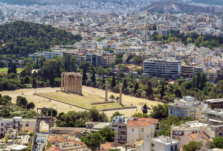 olympian: view from the Acropolis on the temple of Olympian Zeus, Athens Stock Photo
