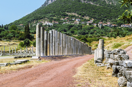 messinia: colonnade about stadium in Ancient Messene, Greece Stock Photo