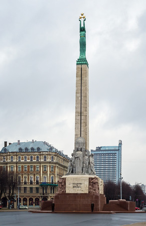 honouring: The Freedom Monument is a memorial located in Riga, Latvia, honouring soldiers killed during the Latvian War of Independence  Editorial