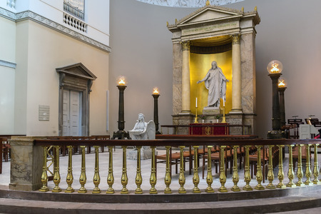 christus: The Church of Our Lady is the cathedral of Copenhagen and the National Cathedral of Denmark. Statues by Bertel Thorvaldsen depicting Jesus Christ  Editorial