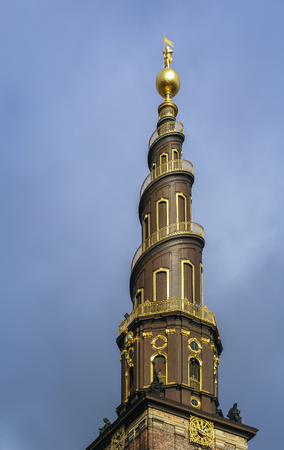Church of Our Saviour is a baroque church in Copenhagen, Denmark, most famous for its corkscrew spire with an external winding staircase that can be climbed to the top Stock Photo - 27253864