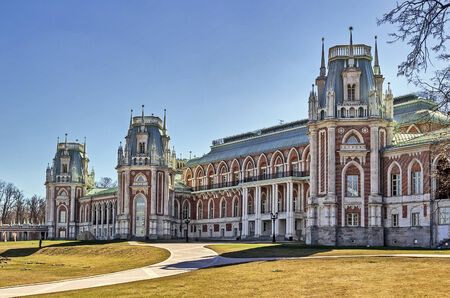 the tsaritsyno: The main palace in Tsaritsyno park in Moscow