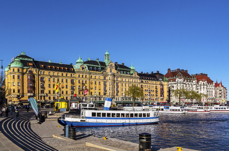 just in time: Strandvagen is a boulevard in central Stockholm, Sweden. Completed just in time for the Stockholm Worlds Fair 1897, it quickly became known as one of the most prestigious addresses in town.