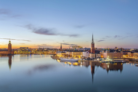 view of Riddarholmen from the Sodermalm island in Stockholm, Sweden