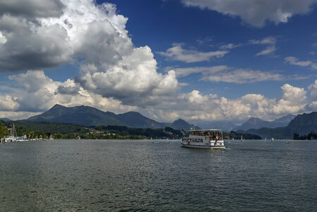 view of Lake Lucerne and Alps, Switzerlan photo