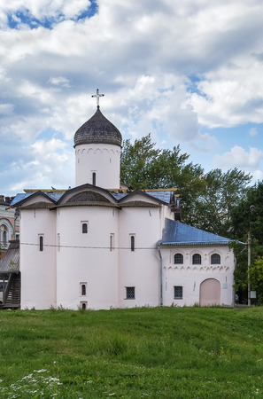commissioned: Myrrhbearers Church was commissioned by a Moscow merchant Ivan Syrkov in 1508 in Veliky Novgorod, Russia Stock Photo