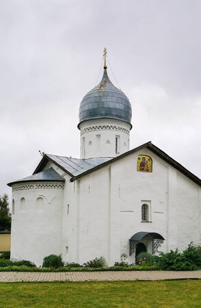 The Intercession Church in Zverin Monastery was built in 1399 in Veliky Novgorod, Russia photo