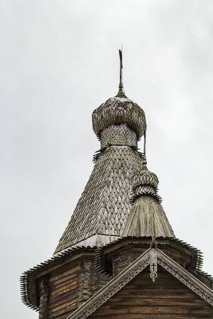 veliky: Kletskaya Trinity Church (1672-1676) in  Museum of Russian Wooden Architecture Vitoslavlitsy near Veliky Novgorod Stock Photo
