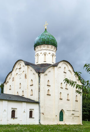 novgorod: Church of St. Theodore Stratilates,1361, Veliky Novgorod, Russia. This remarkable monument of Novgorod architecture served as a model and inspiration for the next generations of architects. Stock Photo