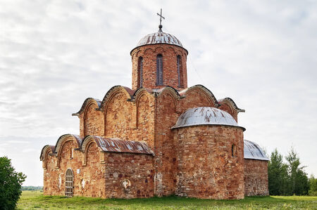 transfiguration: Church of the Transfiguration of Our Savior on Kovalevo Field was built in 1345, Veliky Novgorod, Russia Stock Photo