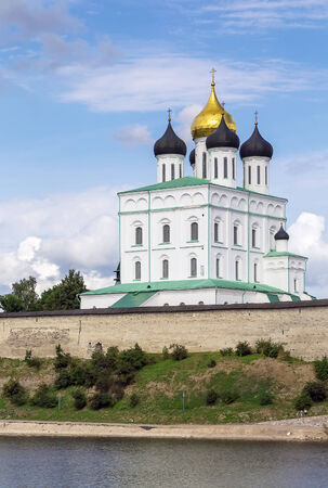 consecrated: The Trinity Cathedral is located in the Pskov Krom or Kremlin.The current building was built beginning in 1691 and consecrated in 1699