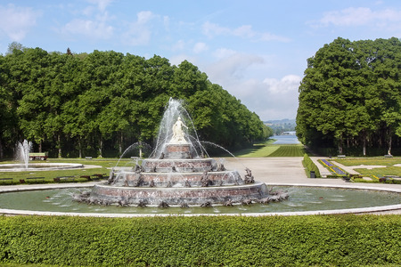 Fountain in park in Herrenchiemsee in Bavaria, Germany
