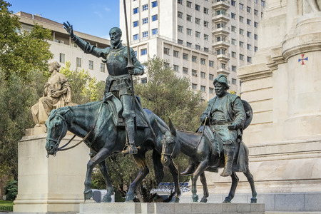 bronze sculptures of Don Quixote and Sancho Panza on Cervantes Monument, Madrid, Spain