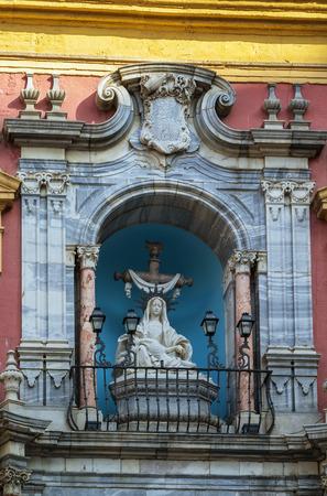 episcopal: sculptures on the facade of the Episcopal Palace in Malaga, Spain Editorial