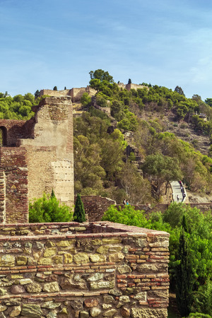 alcazaba: view of Gibralfaro fortress from Alcazaba in Malaga, Spain