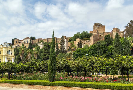 palatial: view of Alcazaba in Malaga, Spain. Alcazaba is a palatial fortification in Malaga