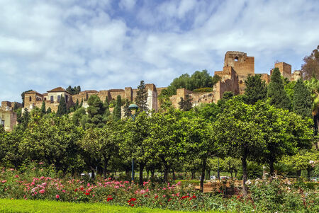 alcazaba: view of Alcazaba in Malaga, Spain. Alcazaba is a palatial fortification in Malaga