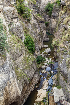 spanish landscapes: view of the bottom of the canyon in Ronda, Spain Stock Photo