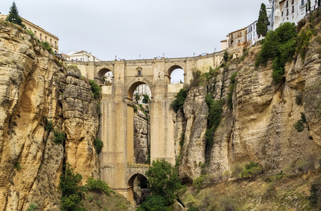 span: The Puente Nuevo (New Bridge) is largest bridges that span the 120-metre deep chasm that divides the city of Ronda, Spain. In was build in 1793