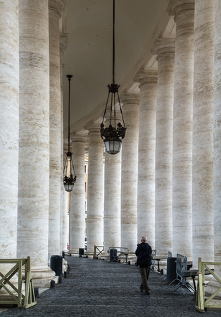 St. Peters Square colonnades consists of four row of huge Tuscan columns