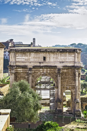severus: The white marble Arch of Septimius Severus at the Roman Forum is a triumphal arch dedicated in AD 203 to commemorate the Parthian victories of Emperor Septimius Severus and his two sons