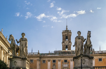 cordoned: Statues of the Dioscuri on Capitoline Hill, Rome, Italy Editorial