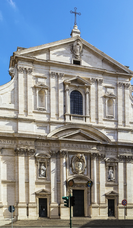 facade of  Church of the Gesu is the first truly baroque facade, introducing the baroque style into architecture, Rome photo
