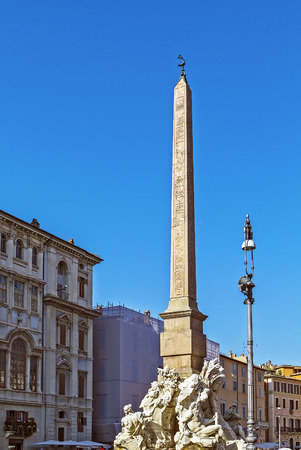 obelisk stone: Fountain of the four Rivers with Egyptian obelisk, in the middle of Piazza Navona, Rome