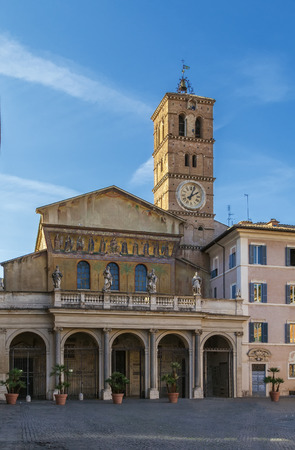 The Basilica of Our Lady in Trastevere is a titular minor basilica, one of the oldest churches of Rome. Facade of church Stok Fotoğraf