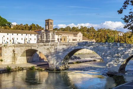 pons: The Pons Cestius (Ponte Cestio, Cestius Bridge) is a Roman stone bridge in Rome, Italy, spanning the Tiber to the west of the Tiber Island.