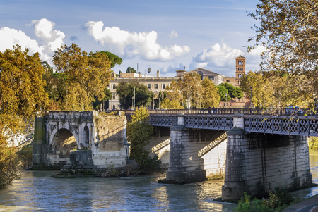 pons: The Pons Aemilius, today called Ponte Rotto, is the oldest Roman stone bridge in Rome, Italy. Stock Photo