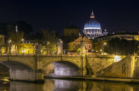 vittorio: view of Ponte Vittorio Emanuele II and St. Peters Basilica in evening, Rome