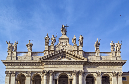 ecclesiastical: The Papal Archbasilica of St. John Lateran is the cathedral church and the official ecclesiastical seat of the Bishop of Rome, who is the Pope. Facade of the basilica