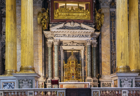 ecclesiastical: The Papal Archbasilica of St. John Lateran is the cathedral church and the official ecclesiastical seat of the Bishop of Rome, who is the Pope. Interior of the church Editorial