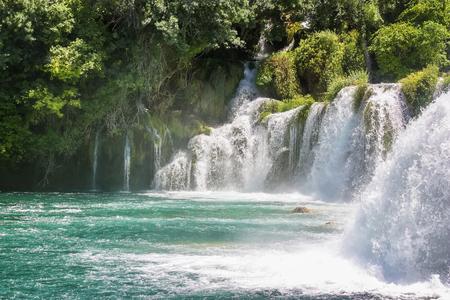 natural force: Waterfall in Krka national park in Croatia Stock Photo
