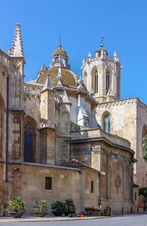 place of interest: Cathedral of Tarragona. Behind the wall lies the 12thcentury cathedral, built on the site of a Roman temple. Spain Stock Photo