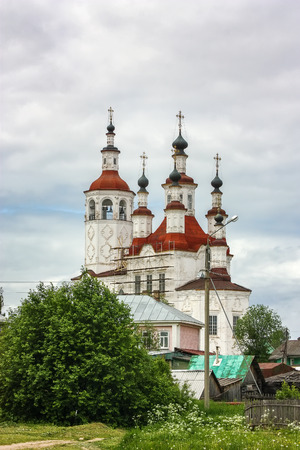 referred: The Church of the Entry into Jerusalem, Totma, Russia.  This style is sometimes referred to as Totma Baroque. Russia Editorial