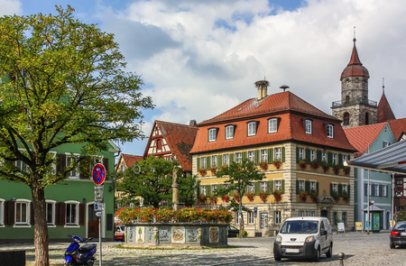 place of interest: Square in the historic center of the Feuchtwangen city. Feuchtwangen is a city in Ansbach district in the administrative region of Middle Franconia in Bavaria, Germany. Editorial