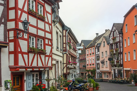 winegrowing: Street with historic houses in Bernkastel-Kues. This city is a well-known winegrowing centre on the Middle Moselle, Germany Editorial
