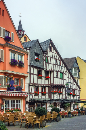 place of interest: Street with historic houses in Bernkastel-Kues. This city is a well-known winegrowing centre on the Middle Moselle, Germany Editorial